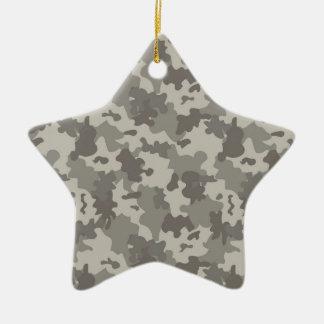Grey Camouflage Ceramic Star Decoration