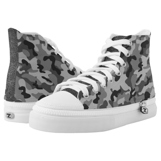 Grey Camouflage  High Top Shoes Printed Shoes