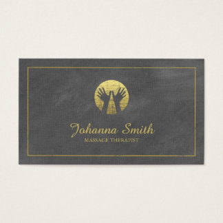 Grey Canvas Golden Frame, Hands Massage Therapy Business Card