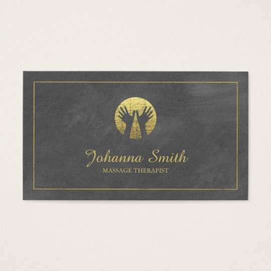 Grey Canvas Golden Frame, Hands Massage Therapy Business