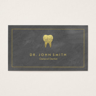 Grey Canvas Golden Frame & Tooth -  Dentist Business Card