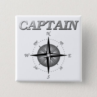 Grey Captain with Compass Rose 15 Cm Square Badge