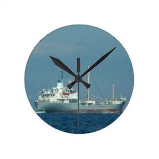 Grey Cargo Ship Wallclocks