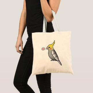 Grey Cartoon Cockatiel Parrot Bird Love Tote Bag
