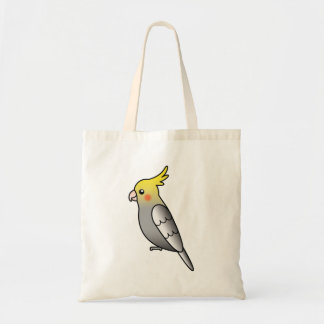 Grey Cartoon Cockatiel Parrot Bird Tote Bag