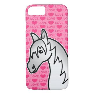 Grey Cartoon Horse Love Hearts iPhone 8/7 Case