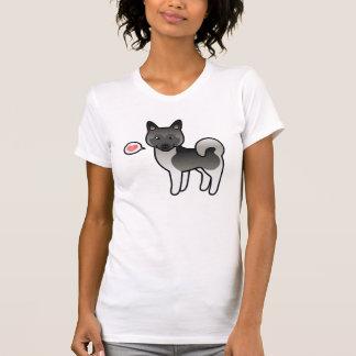 Grey Cartoon Norwegian Elkhound Moose Dog Love T-Shirt