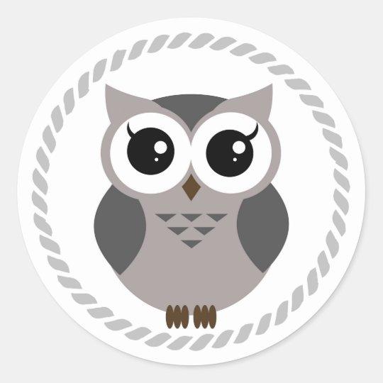 Grey cartoon owl inside grey ring classic round