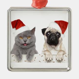 Grey cat and Chinese Pug Christmas Design Christmas Ornament