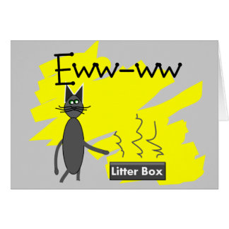 Grey Cat Art--Hilarious Stinky Litter Box and Cat Cards
