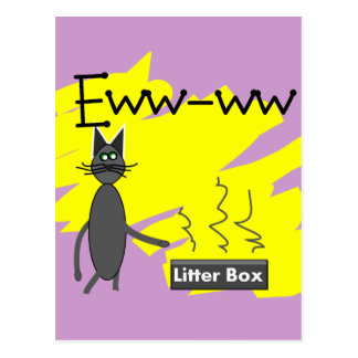 Grey Cat Art--Hilarious Stinky Litter Box and Cat Postcards