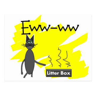 Grey Cat Art--Hilarious Stinky Litter Box and Cat Postcard