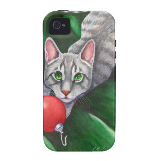 Grey Cat Christmas Ornament Case-Mate iPhone 4 Cases