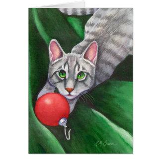 Grey Cat Christmas Ornament Greeting Card