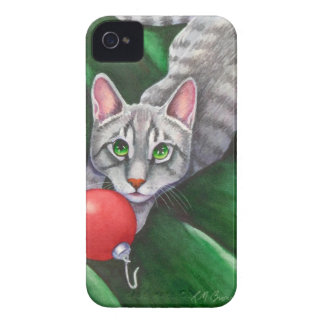 Grey Cat Christmas Ornament iPhone 4 Cover