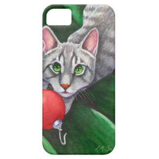 Grey Cat Christmas Ornament iPhone 5 Cases