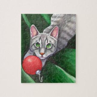 Grey Cat Christmas Ornament Jigsaw Puzzles