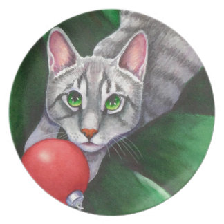 Grey Cat Christmas Ornament Party Plate