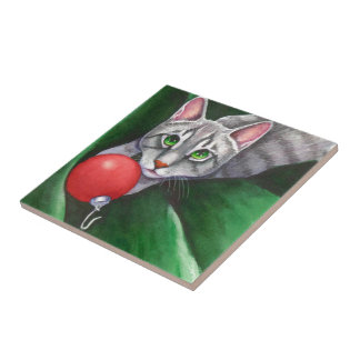 Grey Cat Christmas Ornament Small Square Tile