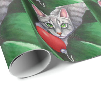 Grey Cat Christmas Ornament Wrapping Paper