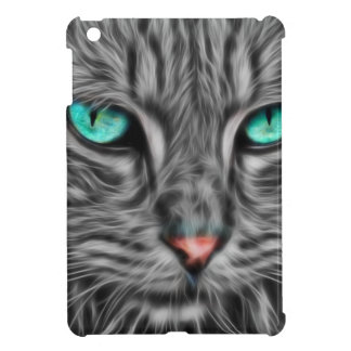 Grey Cat Feline Fractal Art Design, iPad Mini Case