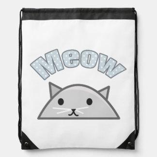 Grey Cat Head Illustration, Meow Backpacks