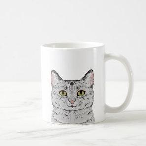 Grey Cat Mug - cute cat mug