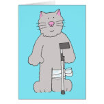 Grey cat on crutch, knee surgery recovery. greeting card