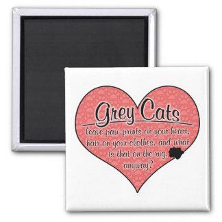 Grey Cat Paw Prints Humor Square Magnet