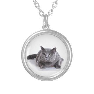 Grey Cat Round Pendant Necklace