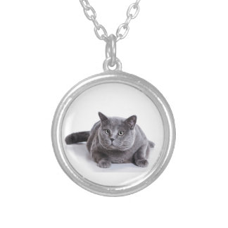 Grey Cat Silver Plated Necklace