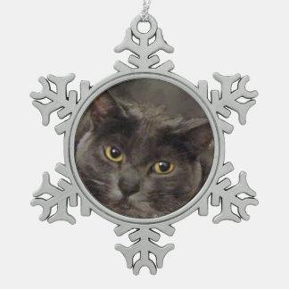 Grey Cat Snowflake Pewter Christmas Ornament