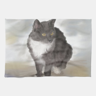 Grey Cat Tea Towel