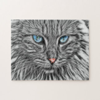 Grey Cat with Blue Eyes Fractal Art Jigsaw Puzzle
