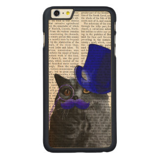 Grey Cat With Blue Top Hat and Blue Moustache Carved Maple iPhone 6 Plus Case