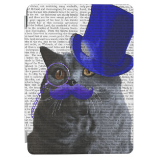 Grey Cat With Blue Top Hat and Blue Moustache iPad Air Cover