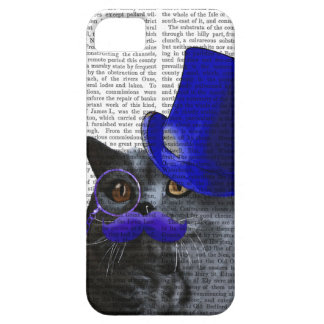 Grey Cat With Blue Top Hat and Blue Moustache iPhone 5 Case