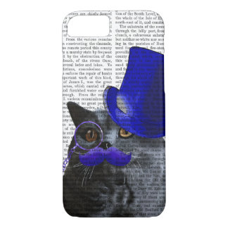 Grey Cat With Blue Top Hat and Blue Moustache iPhone 8/7 Case