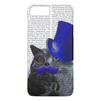 Grey Cat With Blue Top Hat and Blue Moustache iPhone 8 Plus/7 Plus Case