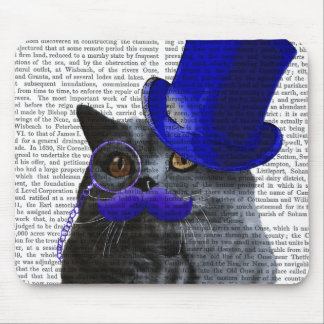 Grey Cat With Blue Top Hat and Blue Moustache Mouse Pad