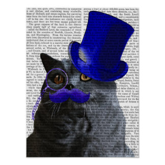 Grey Cat With Blue Top Hat and Blue Moustache Poster