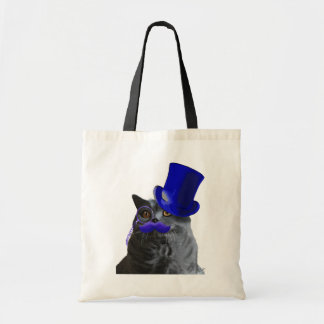 Grey Cat With Blue Top Hat and Blue Moustache Tote Bag