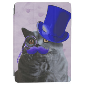 Grey Cat With Blue Top Hat and Moustache iPad Air Cover