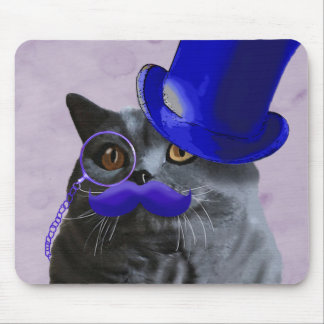 Grey Cat With Blue Top Hat and Moustache Mouse Pad