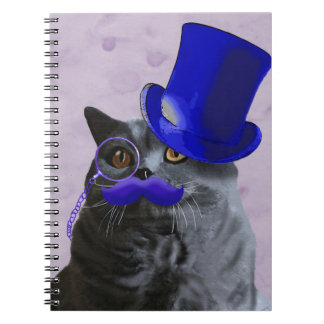 Grey Cat With Blue Top Hat and Moustache Notebooks