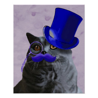 Grey Cat With Blue Top Hat and Moustache Poster