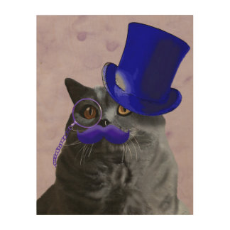 Grey Cat With Blue Top Hat and Moustache Wood Wall Art