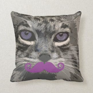 Grey Cat with Funny Mustache Popart Cushion