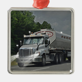 Grey Cattle Feed Cistern Truck for Truckers & Kids Christmas Ornament