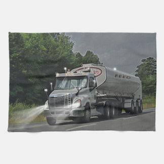 Grey Cattle Feed Cistern Truck for Truckers & Kids Tea Towel